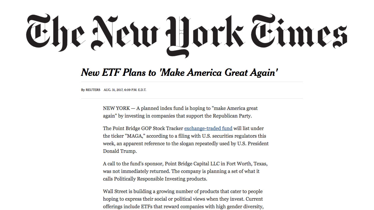 New York Times –  New ETF Plans to 'Make America Great Again'
