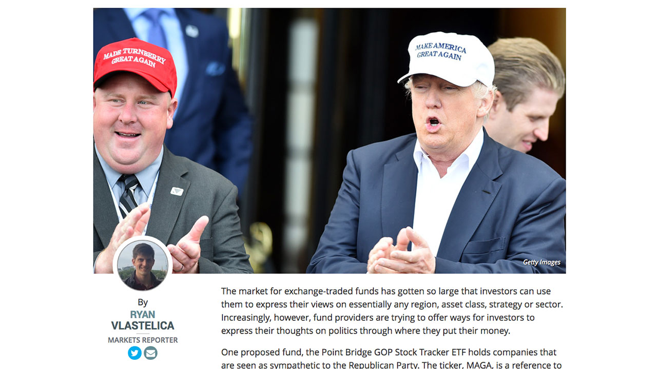 MarketWatch – This fund invests only in companies that contribute to Trump and Republicans. Its ticker: MAGA