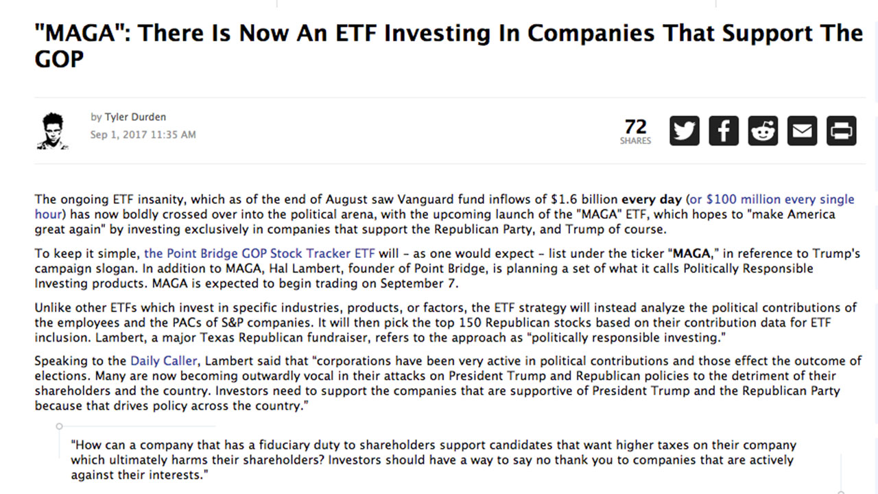 "ZeroHedge – ""MAGA"": There Is Now An ETF Investing In Companies That Support The GOP"